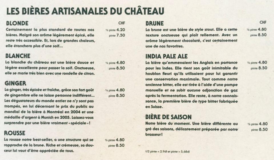 Les descriptifs des bières